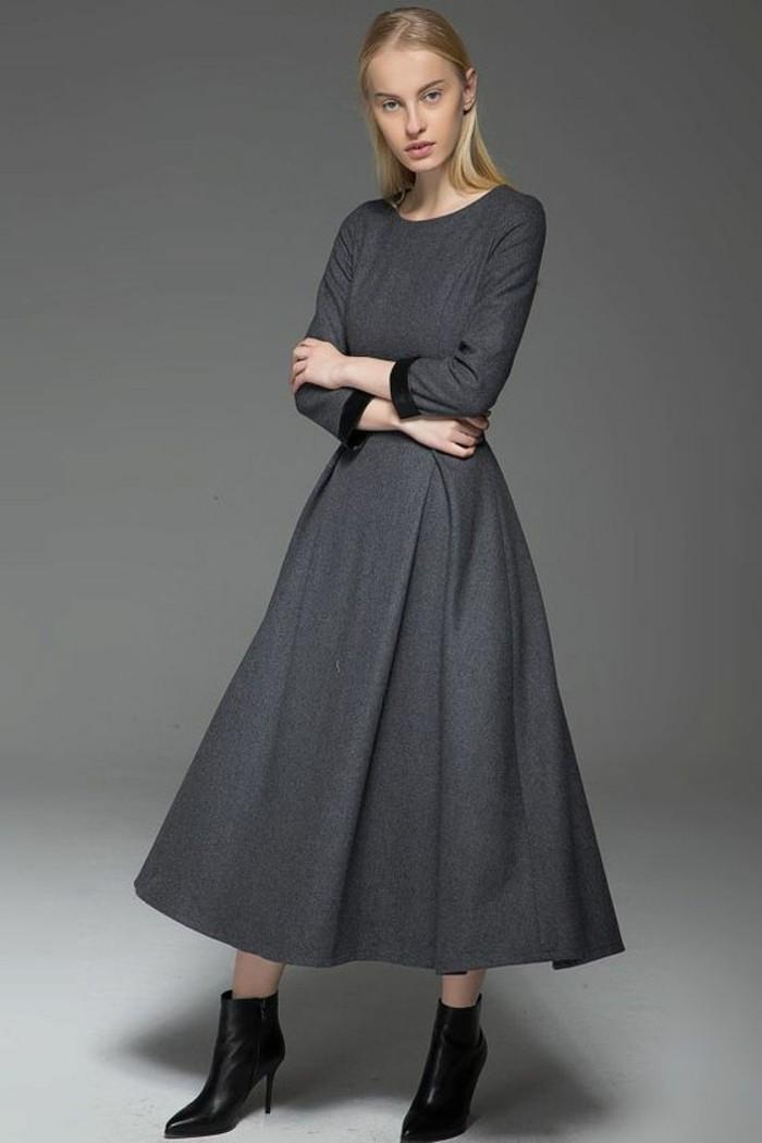 robe-en-laine-classique-longue-mi-cheville-gris-anthracite