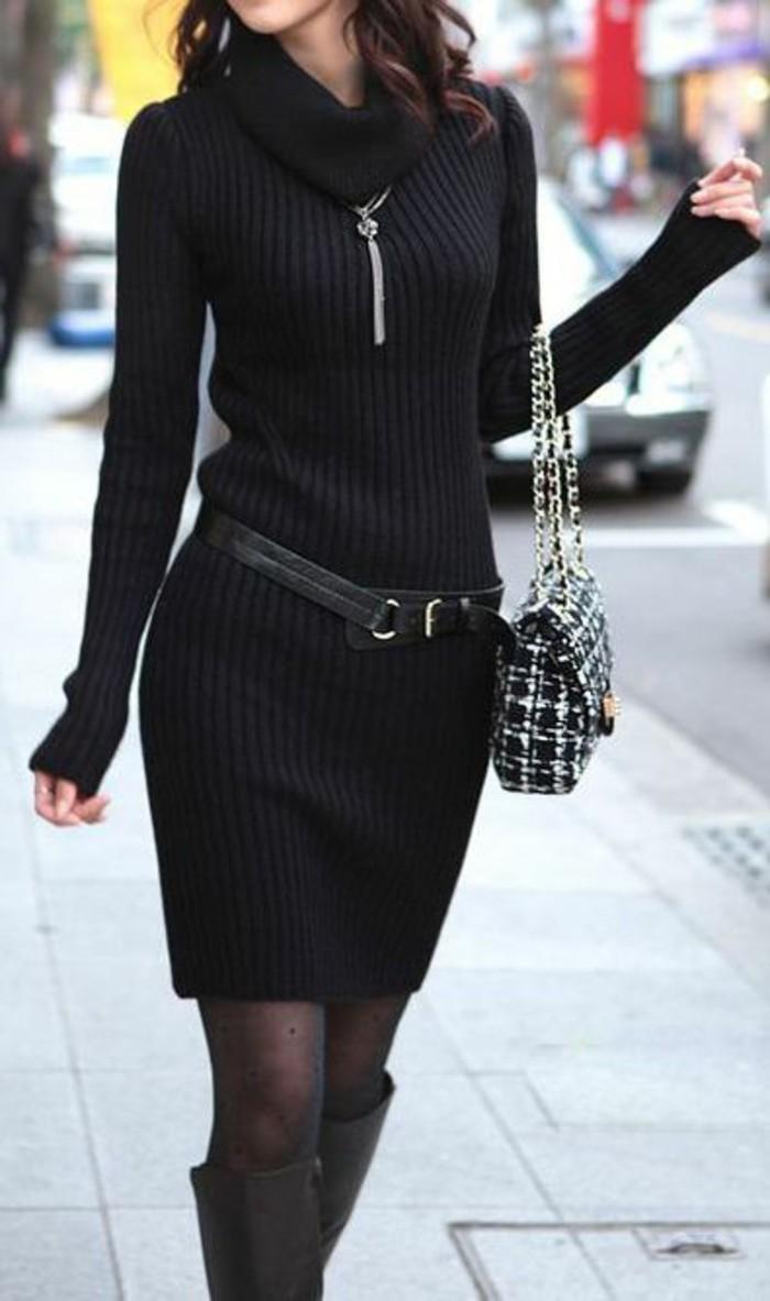 robe-en-laine-en-noir-avec-ceinture-en-métal