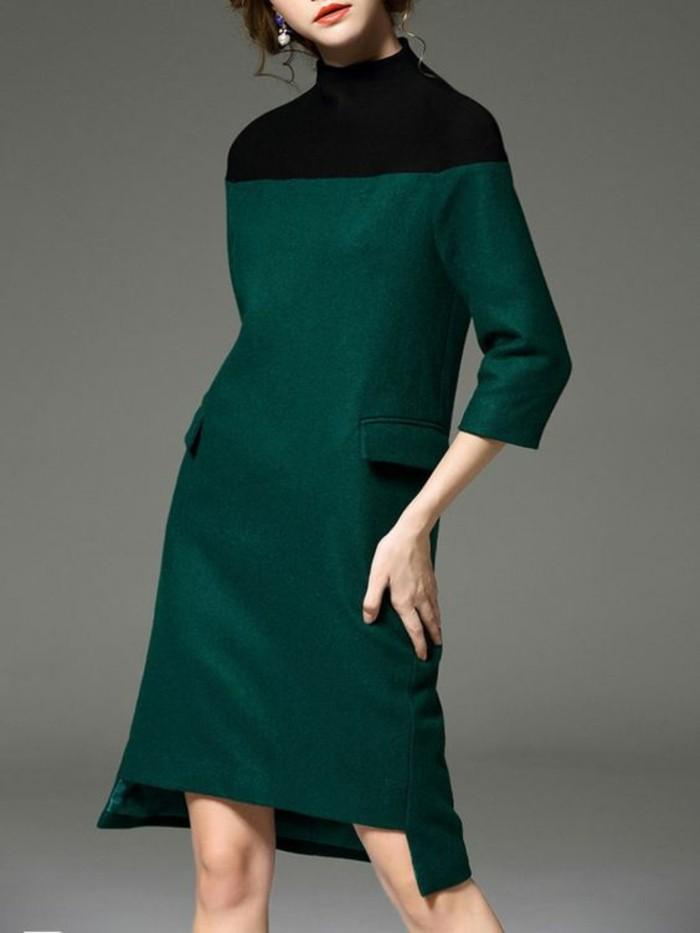 robe-en-laine-en-vert-et-noir-longueur-midi