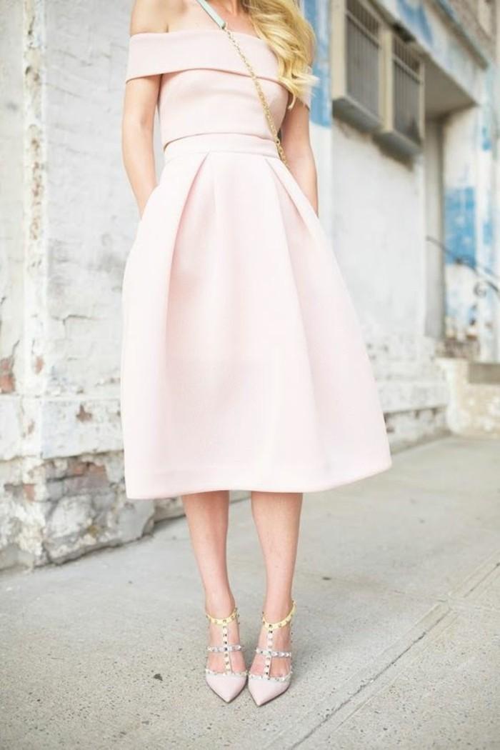 robe-rose-poudré-robe-de-soirée-cérémonie-classique-moderne-pastel-robe-mi-lognue