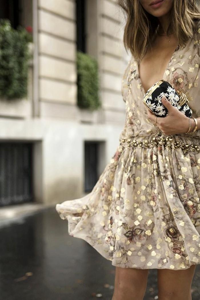 robe-rose-poudré-robe-de-soirée-cérémonie-magnifique-dorée