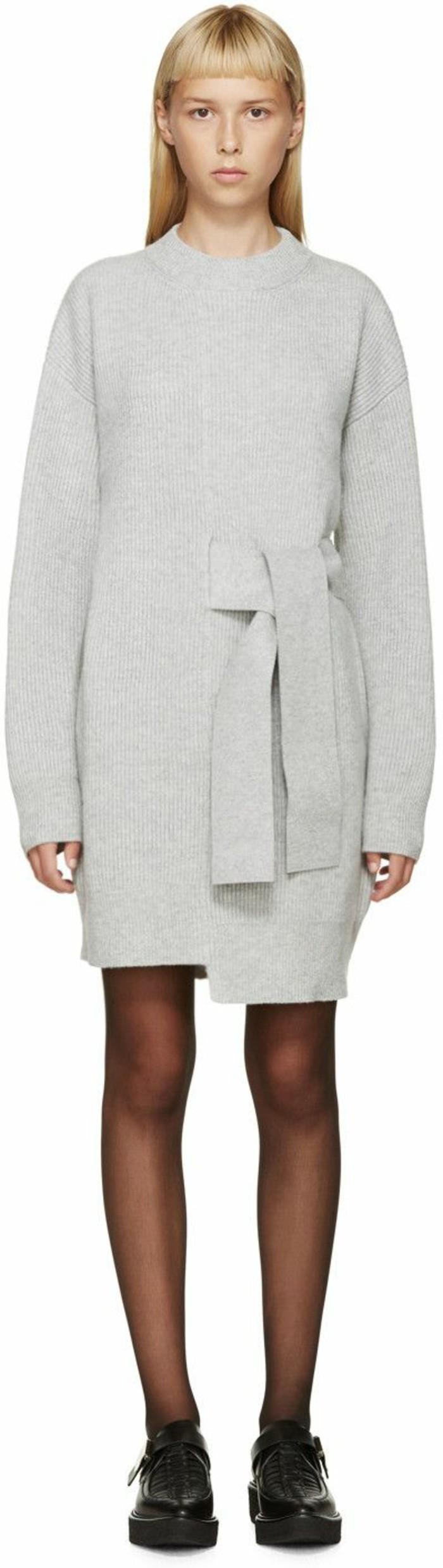 robes-en-laine-blanc-noeud-asymétrique