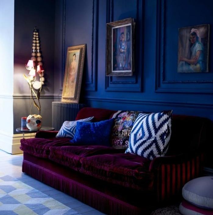 1001 id es pour une d co maison couleur indigo for Motif peinture salon