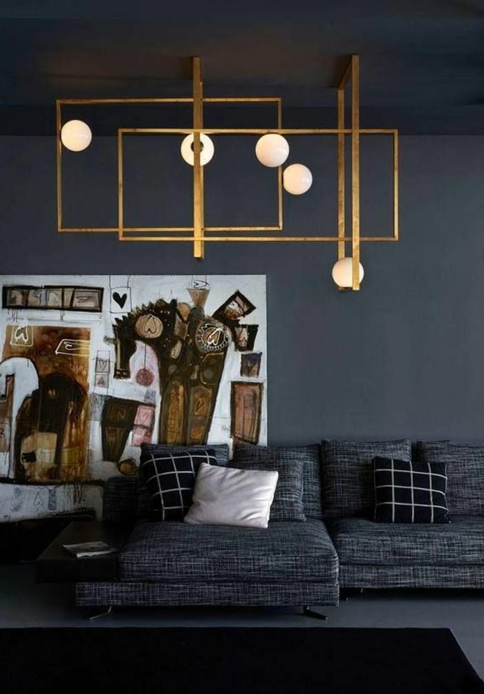 salon-gris-et-noir-lampes-originales-tableau-artistique