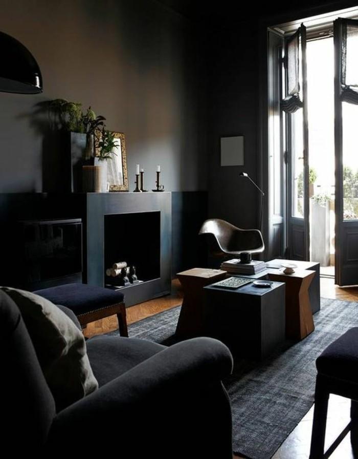 salon-moderne-gris-avec-meubles-noirs-aménagement-salon-moderne