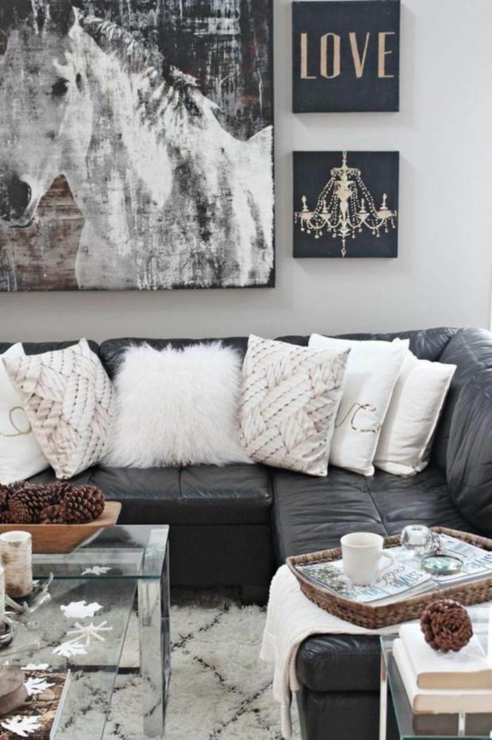 salon-noir-blanc-gris-déco-salon-gamme-monochrome