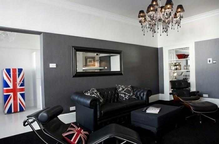 salon-noir-et-gris-fauteuils-ergonomiques-déco-drapeau-américain