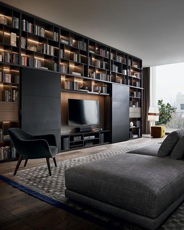 salon-noir-et-gris-moderne-grande-bibliothèque-murale