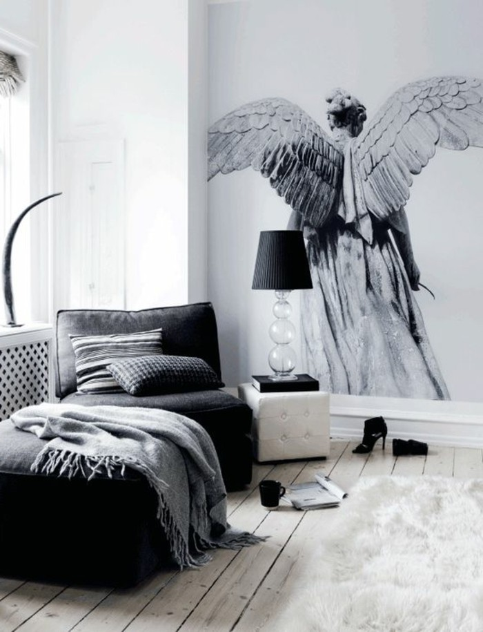 papier peint salon gris id e inspirante. Black Bedroom Furniture Sets. Home Design Ideas