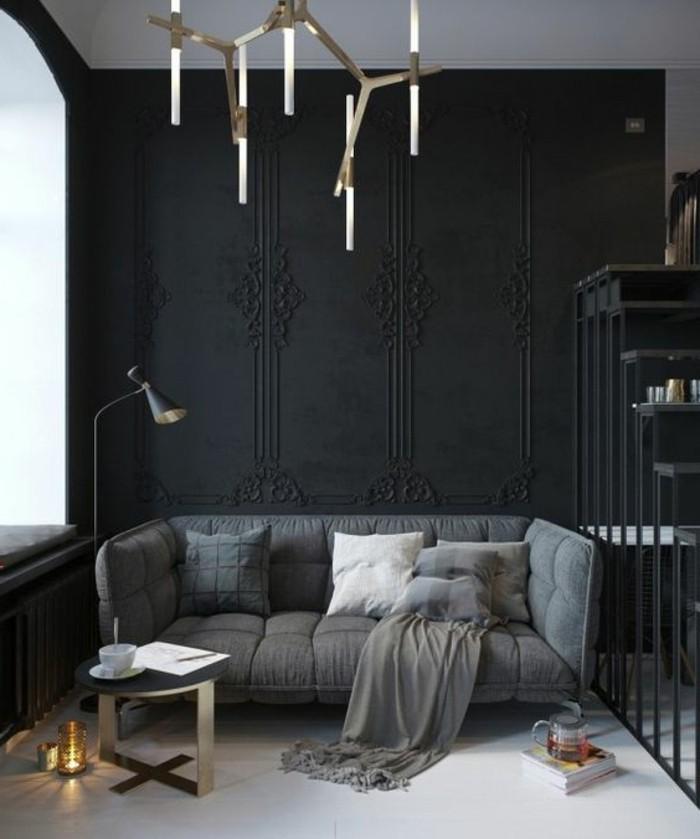 salon-noir-et-gris-plafonnier-original-sofa-gris-et-tapis-gris
