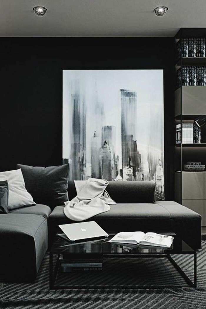 salon-noir-et-gris-sofas-confortables-peinture-monochrome