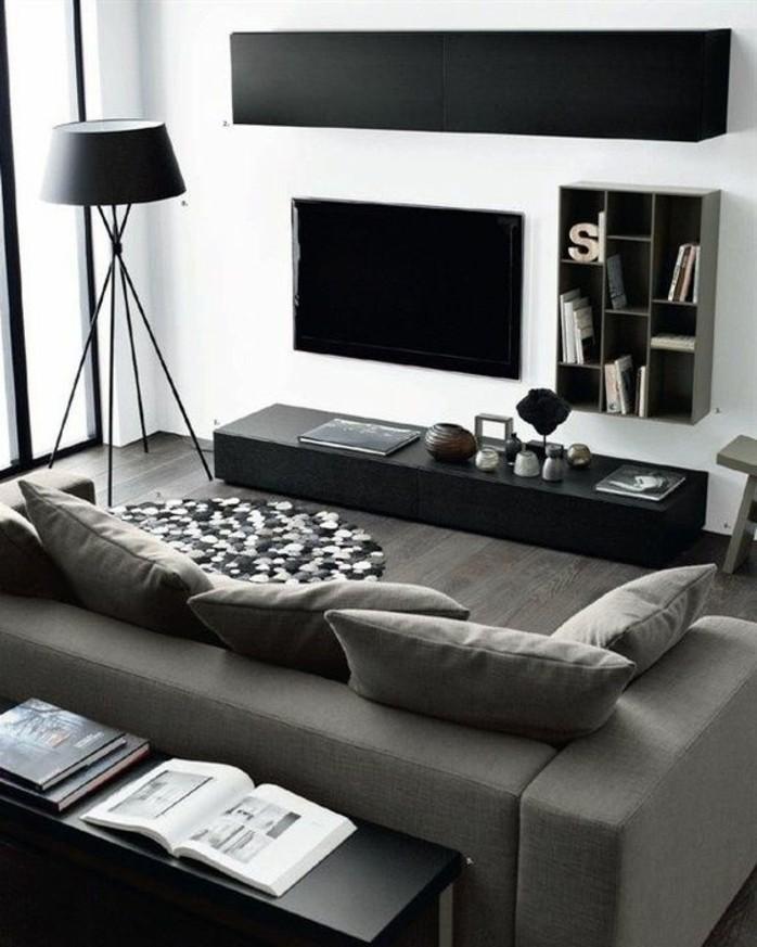 salon-noir-et-gris-sofas-gris-meuble-de-tv-minimaliste