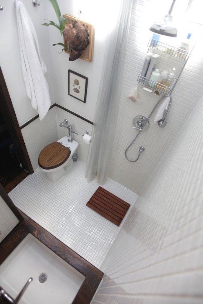 solutions tres petite salle de bain agencement douche lavabo toilettes