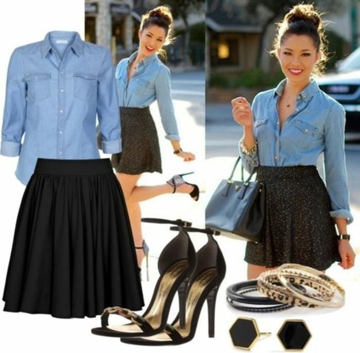 tenue-avec-chemise-en-jean-idee-d'ete-elegance-et-beaute-feminine