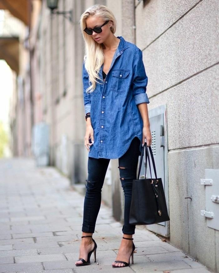 tenue-avec-chemise-en-jean-lunettes-de-soleil-pantalon-dechire