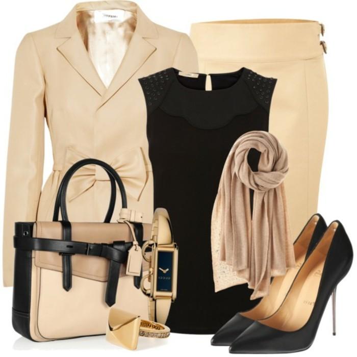 tenue-commerciale-femme-idée-vision-classique-avec-style-en-beige-et-noir