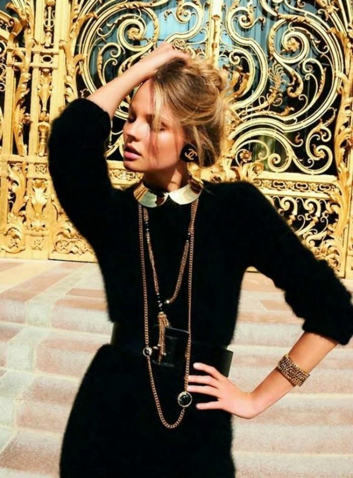 tenue-noire-col-claudine-amovible-doré-collier-avec-chaîne