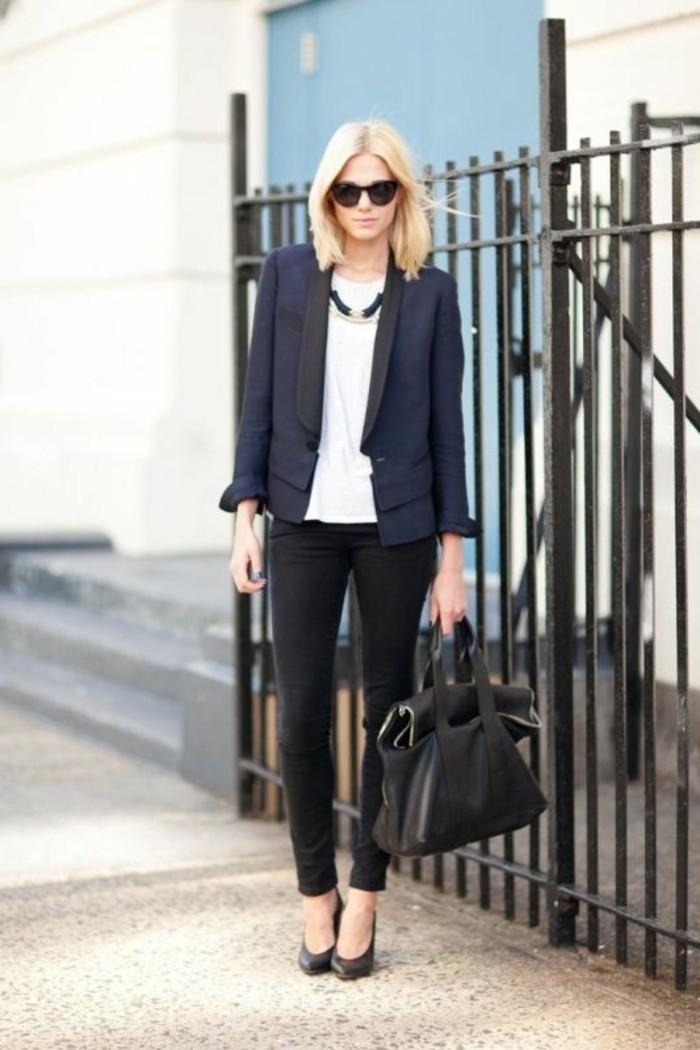 tenue-professionnelle-femme-élégance-air-d'affaire-couleurs-foncées-contraste-avec-une-chemise-blanche