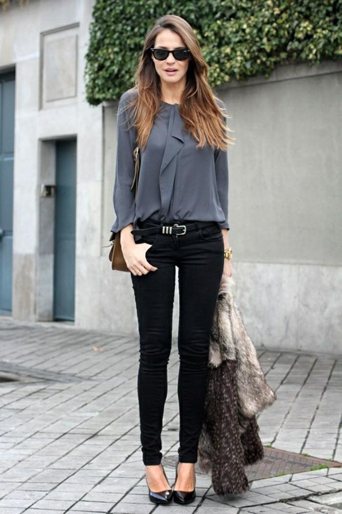 tenue-professionnelle-femme-couleurs-foncés-pantalon-noir-chemise-grise