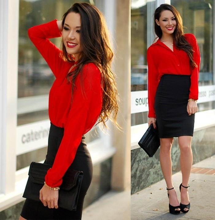tenue-vestimentaire-au-travail-opter-pour-le-rouge-chemise-et-jupe
