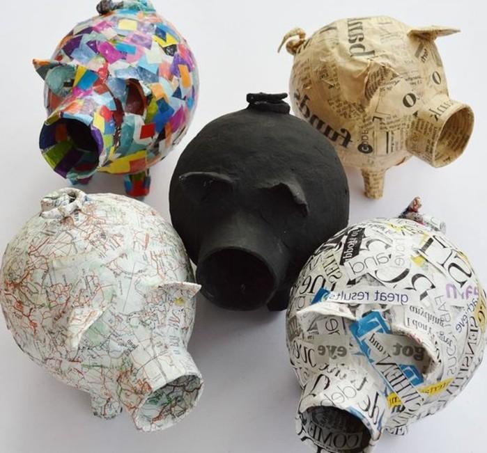 une-tirelire-cochon-papier-journal-washi-tape-carte-geographique-faire-de-la-colle-avec-de-la-farine-pour-décorer-des-supports-resized
