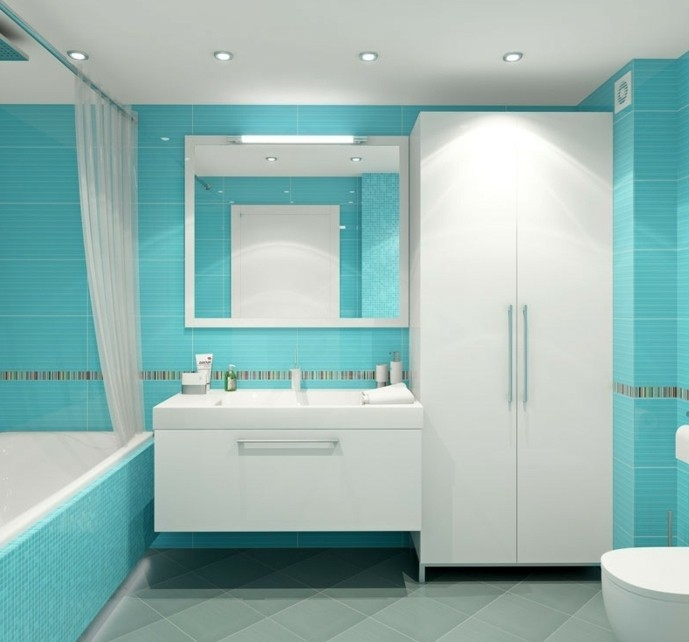 beautiful salle de bain turquoise et blanc pictures. Black Bedroom Furniture Sets. Home Design Ideas