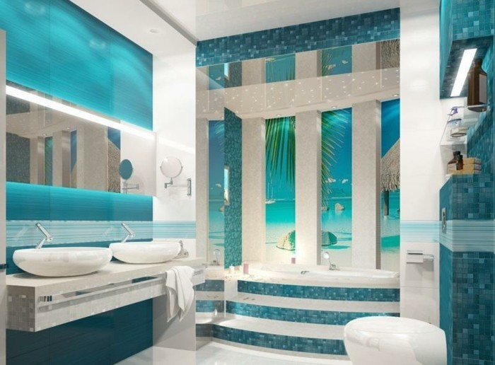 stunning salle de bain turquoise images awesome interior. Black Bedroom Furniture Sets. Home Design Ideas
