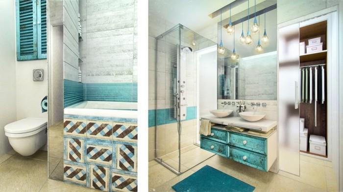 Salle de bain d co salle de bain marron et turquoise for Salle de bain marron et turquoise