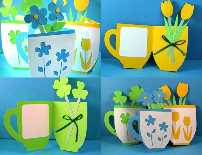 une carte à voeux, en couleurs du printemps, en forme de tasse à the, fleurs en papier decoratifs, idée activité manuelle primaire