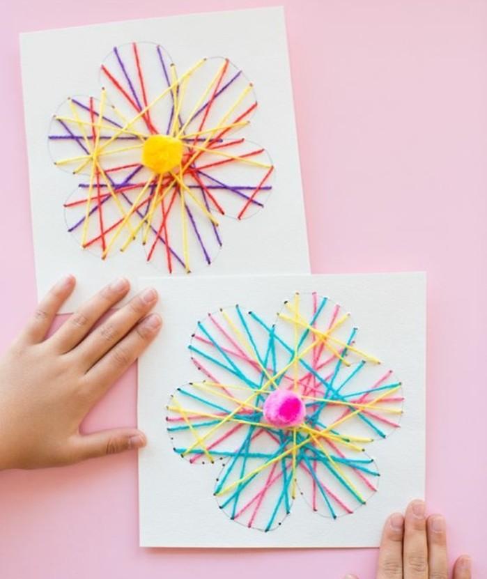 activité-manuelle-primaire-maternelle-pour-printemps-des-fils-multicolores-croisés-en-forme-de-fleur-idée-d-activité-créative-pour-fabriquer-des-fleurs