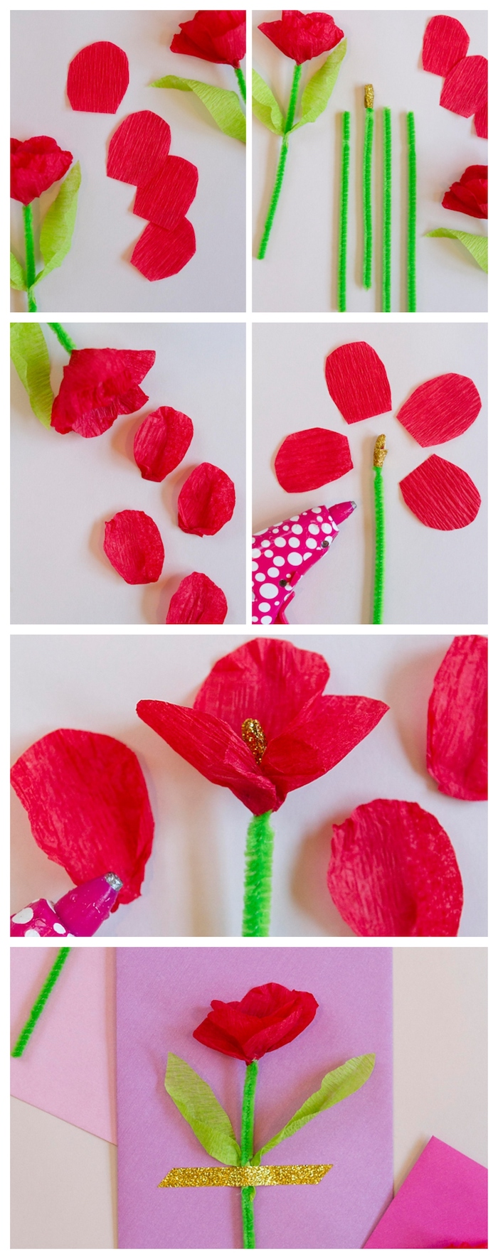 comment faire une carte fete des meres simple en fleur de papier crepon rouge sur tige verte en cure-pipe attachée avec bande adhestive pailletée