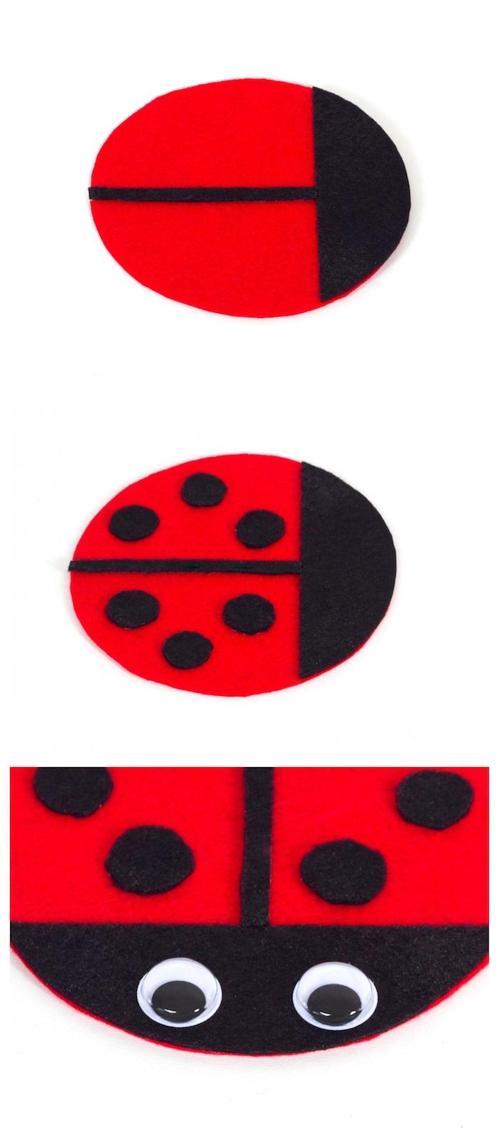 exemple activité manuelle avec feutrine, dessous de verre motif coccinelle en feutrine rouge et noir et des yeux mobiles