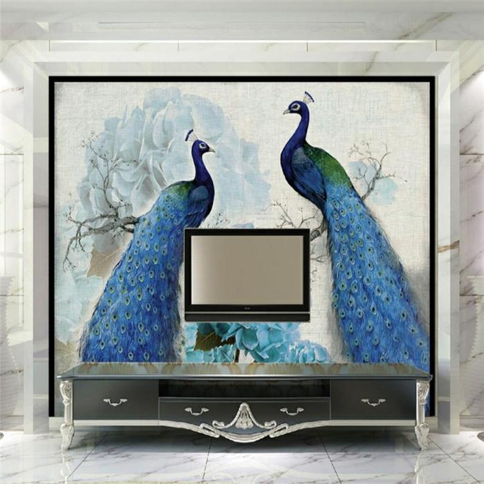 admirable-idée-peinture-bleu-paon-couleur-deco-chambre-idée-intérieur