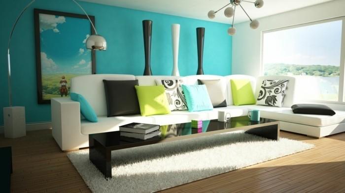 déco zen, tapis en fausse fourrure, plafond blanc, mur turquoise bleu, peinture nature