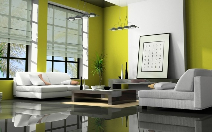 feng shui couleurs, murs verts, sol gris miroir, meuble blanc, table basse, lampes suspendues
