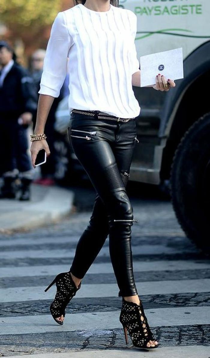 blouse-élégante-escarpins-à-lacets-panatalon-cuir-femme