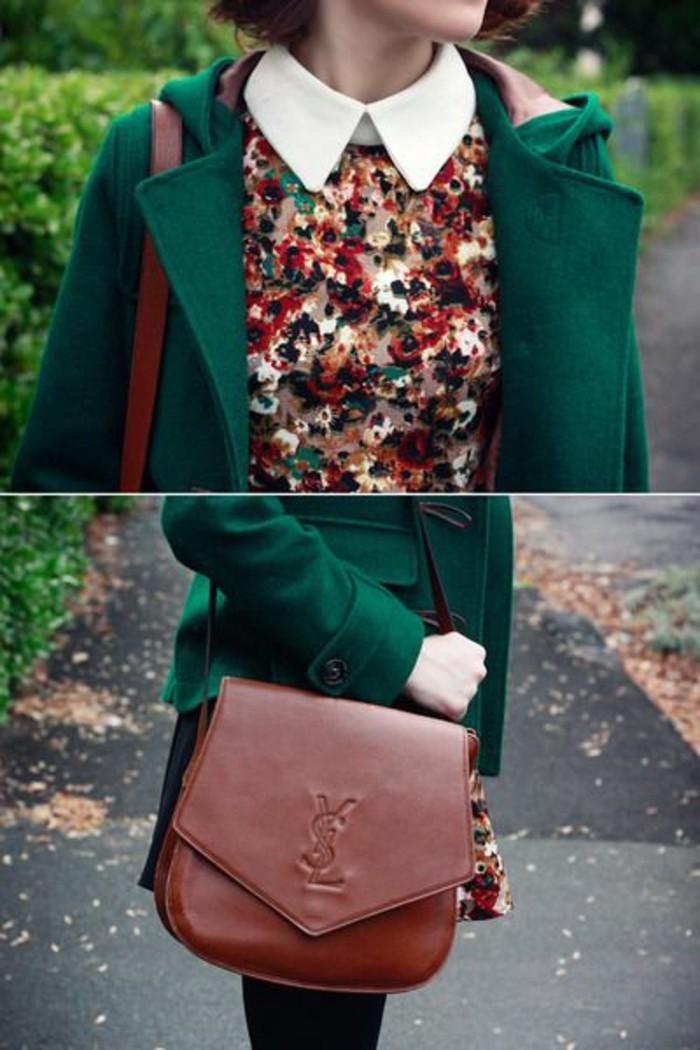 blouse-florale-chemise-col-claudine-blanche-manteau-en-laine-vert