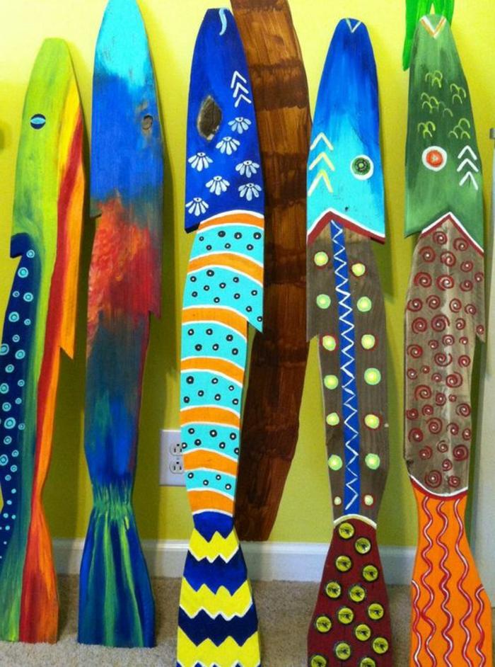 bois flotté déco, poissons décorés avec l'utilisation de bois flotté