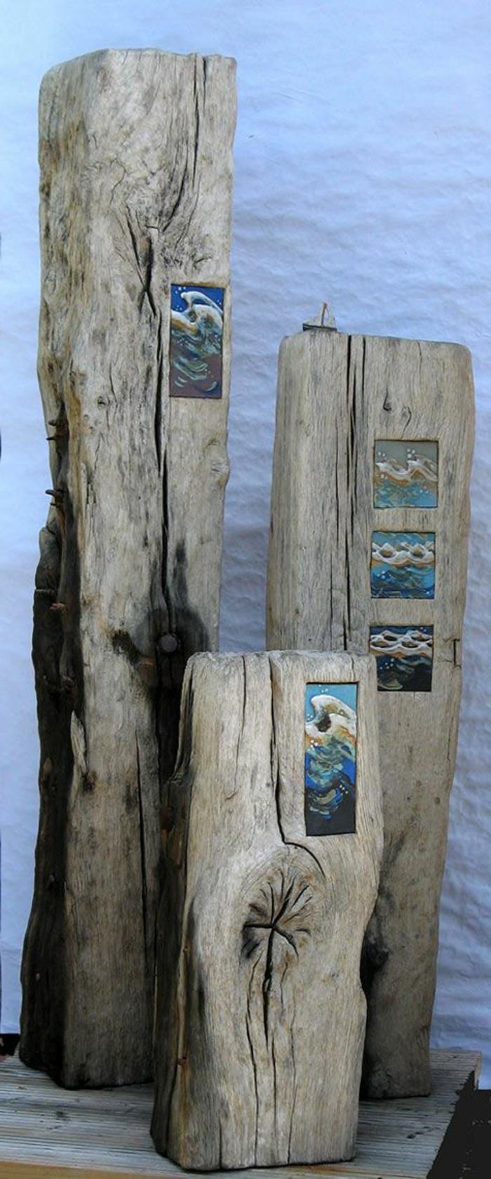 bois flotté déco, sculptures art de bois flotté