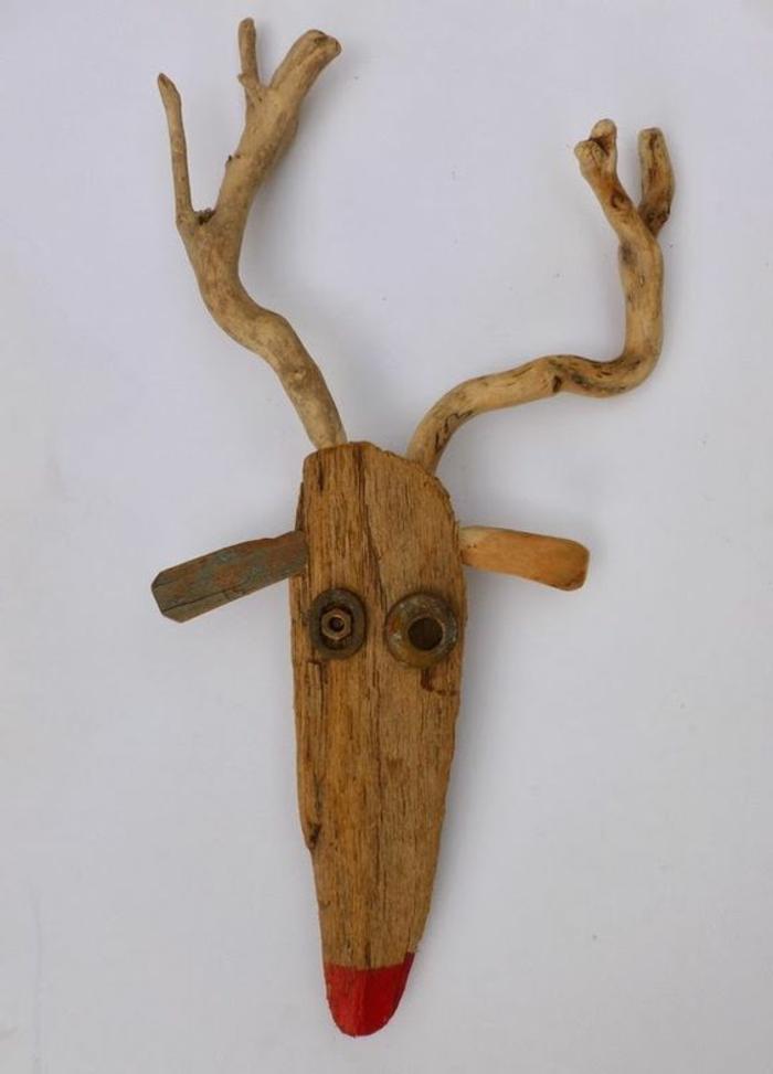 bois flotté peint, sculpture en bois flotté cerf
