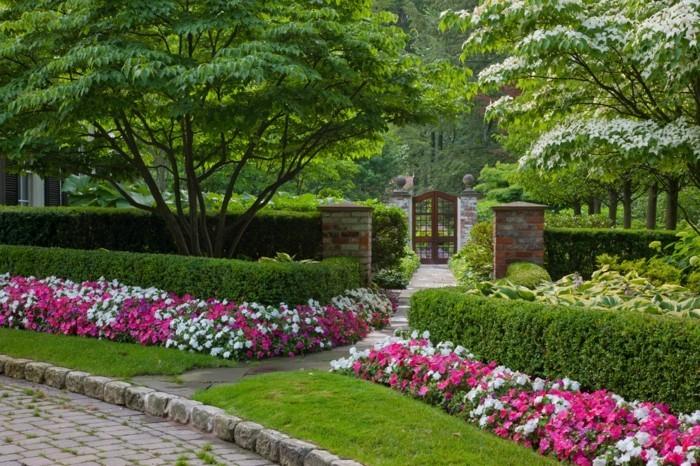 bordure parterre de fleurs, buis arbuste et arbres verts, chemin qui mène à une porte cochère, idée de decoration exterieur