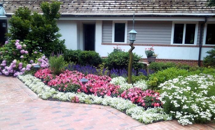 un parterre fleuri, fleurs blanches, roses, lavande, pivoines, maison, éclairage extérieur, une allée de pavage