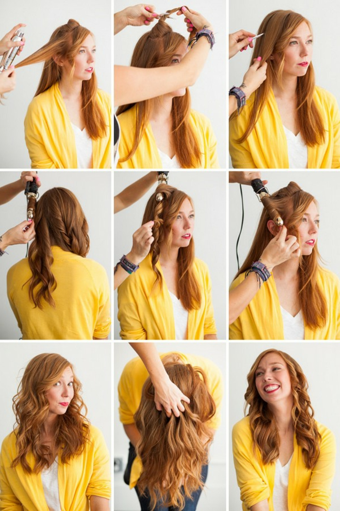 boucle-avec-lisseur-tuto-blouse-jaune-cheveux-cuivrés-t-shirt-blanc