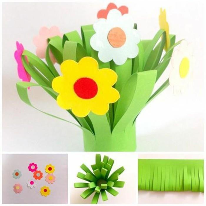 bouquet-de-fleurs-en-papier-activité-manuelle-primaire-idée-comment-faire-des-fleurs-en-papier-diy-pétales-multicolores-et-tiges-verts-bricolag-enfant-facile
