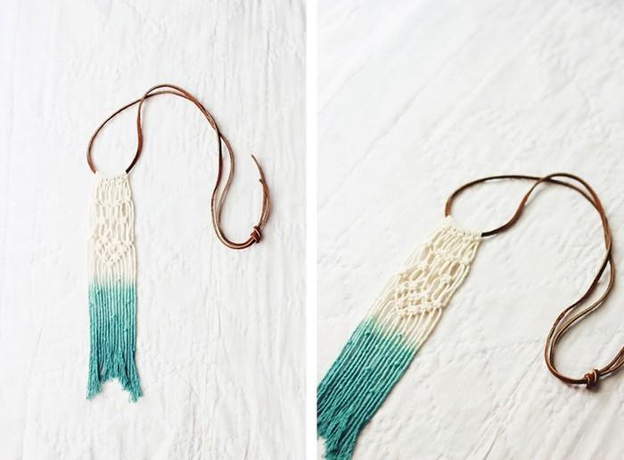 macramé technique, collier bohème, corde turquoise et blanc, diy macramé
