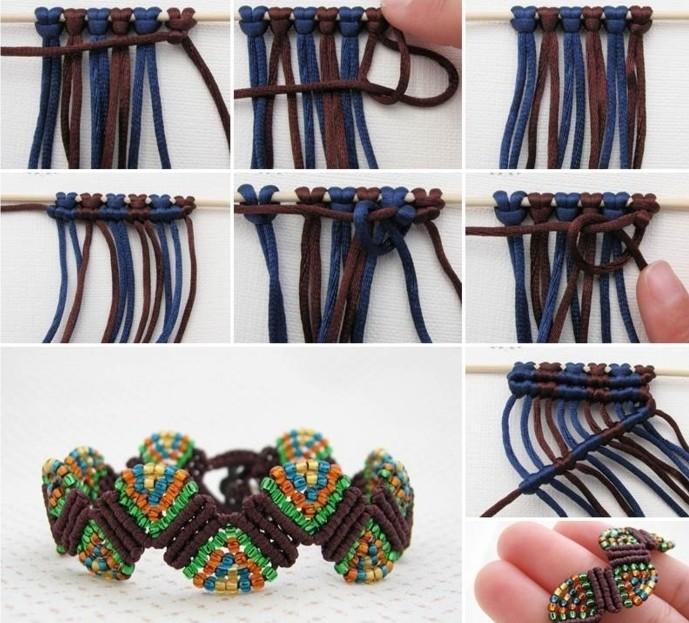 bracelet macramé tuto, diy bijoux, marron et bleu, accessoire avec décoration multicolore