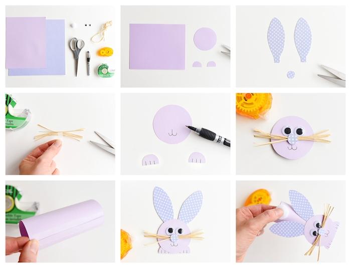 bricolage paques maternelle,. comment fabriquer un lapin en tube de papier, activité manuelle facile en papier