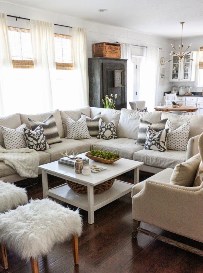 amenagement salon, table blanche, tabourets avec housses en fausse fourrure, canapé d'angle