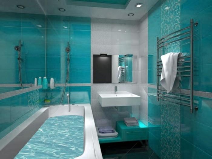 carrelage-douche-baignoire-deco-aquarium-turquoise-serviette-blanche-lavabo