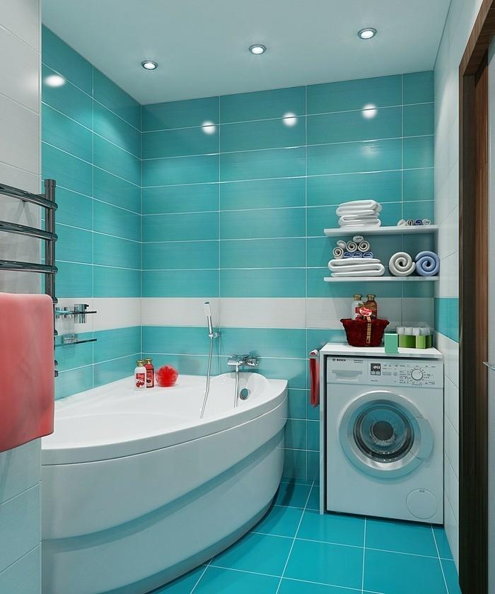 carrelage-douche-baignoire-murs-turquoise-accesssoire-de-bain-serviette-rouge